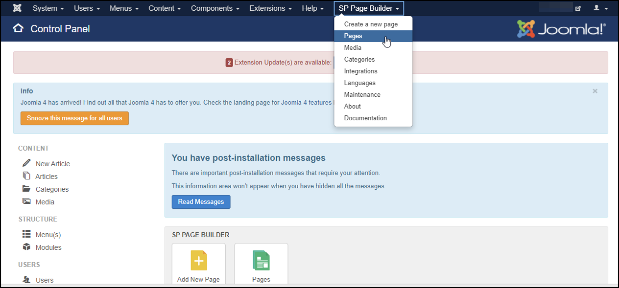 Control Panel - SP Page Builder - Pages