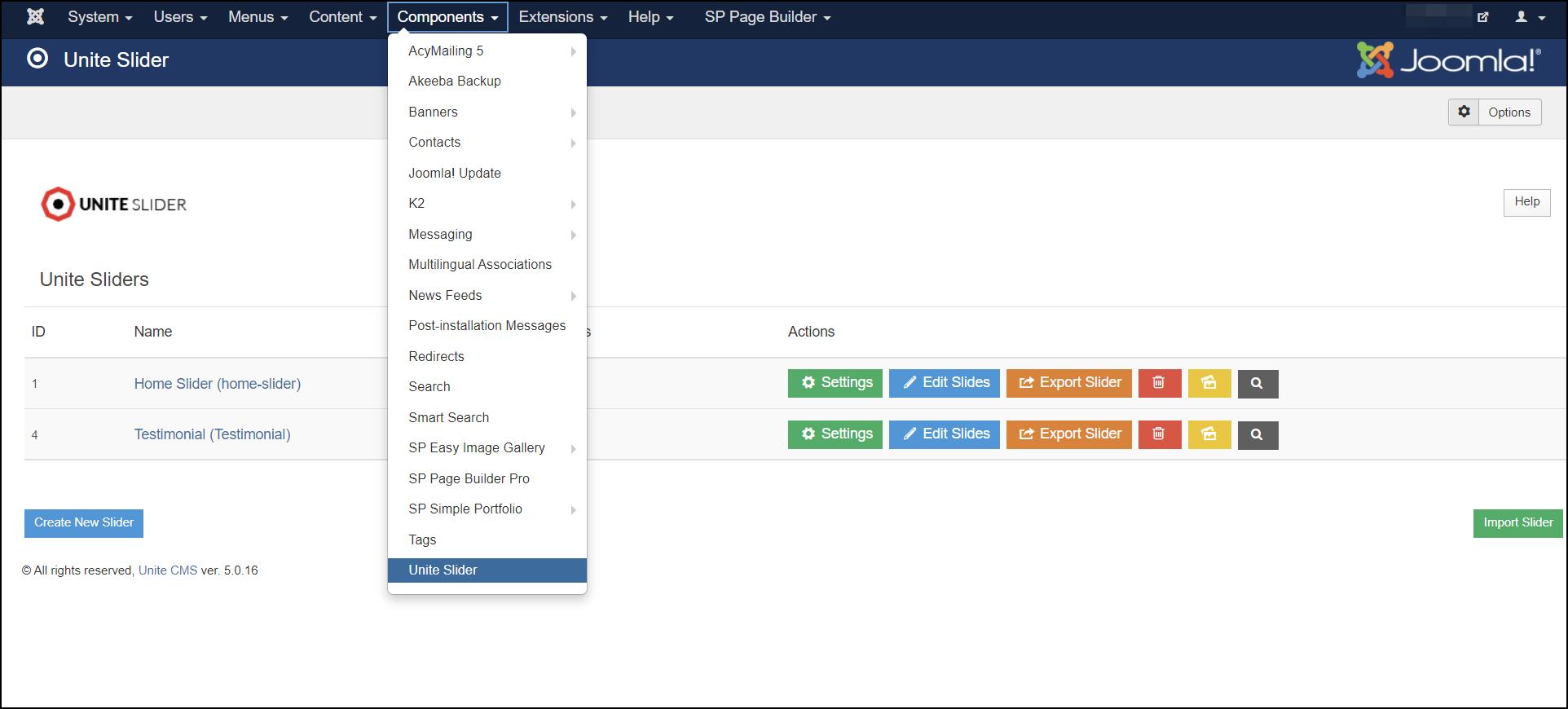 Joomla 3 - Access Unite Slider